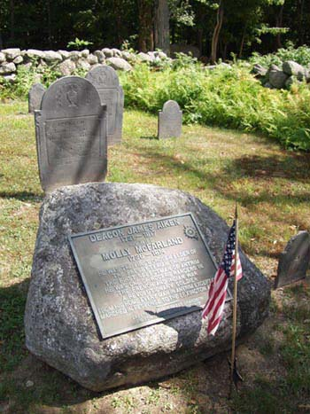 rock in a cemetery with a plaque and a flag