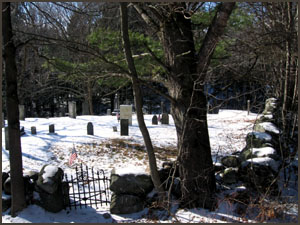 old cemetery covered in snow