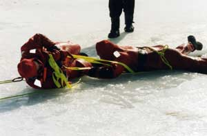 pulling a person out of a frozen lake