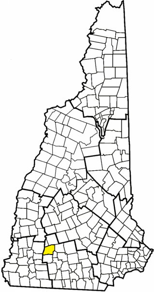 map of new hampshire with the town of antrim highlighted