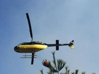 Helicopter water drop for Stoddard wildfire