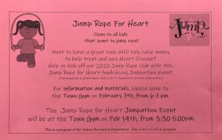 Jump Rope For Heart Info night 6-7 pm at Antrim TOwn GYm