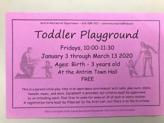 Toddler Playground is for children Birth through 3 years old. 10-11:30 at Town Hall.